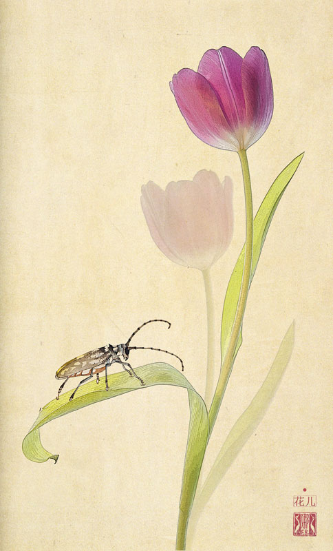 Tulip with beetle print