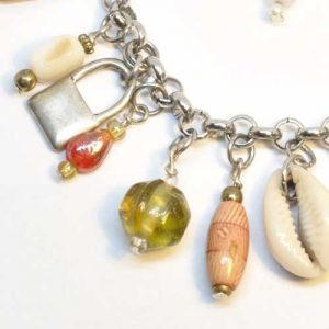 Amber glass bead and sea shell bracelet