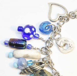 Blue and white glass beads